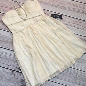J Crew Cream Cocktail Strapless Dress